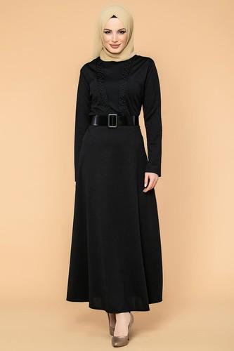 Modaebva - Kalın Kemerli İncili Tesettür Elbise-3572 Siyah