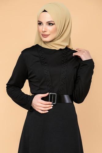 Modaebva - Kalın Kemerli İncili Tesettür Elbise-3572 Siyah (1)