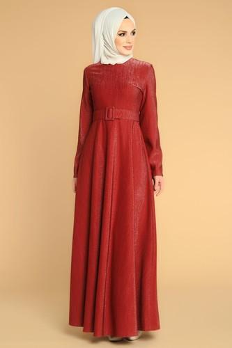 Modaebva - Kalın Kemerli Kloş Tesettür Elbise-2008 Bordo
