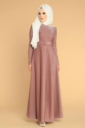 Modaebva - Kalın Kemerli Kloş Tesettür Elbise-2008 Gülkurusu