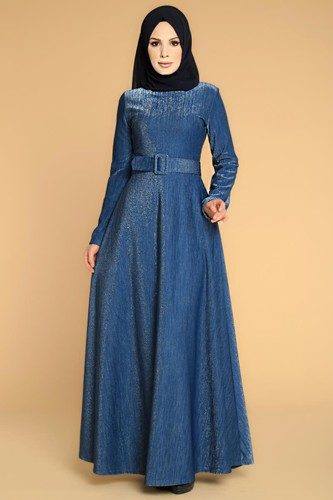 Modaebva - Kalın Kemerli Kloş Tesettür Elbise-2008 İndigo (1)