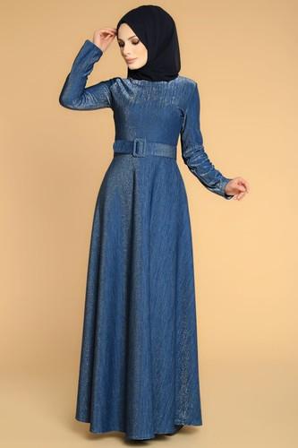Modaebva - Kalın Kemerli Kloş Tesettür Elbise-2008 İndigo