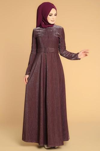 Modaebva - Kalın Kemerli Kloş Tesettür Elbise-2008 Mor