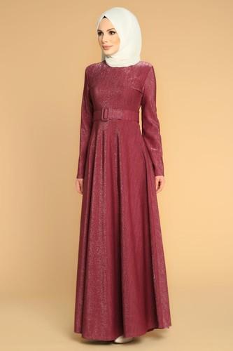 Modaebva - Kalın Kemerli Kloş Tesettür Elbise-2008 Mürdüm