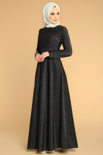 Modaebva - Kalın Kemerli Kloş Tesettür Elbise-2008 siyah