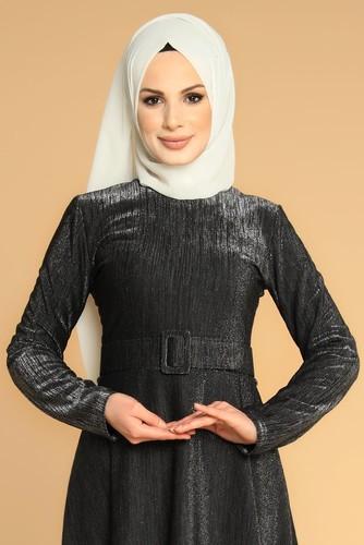 Modaebva - Kalın Kemerli Kloş Tesettür Elbise-2008 siyah (1)