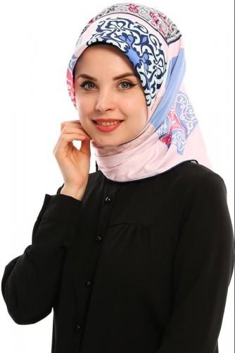 Modaebva - Kare Desen Eşarp-E58Pudra