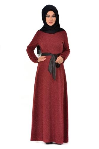 - Karyağdı Kumaş Deri Kemerli Elbise Bordo-4068