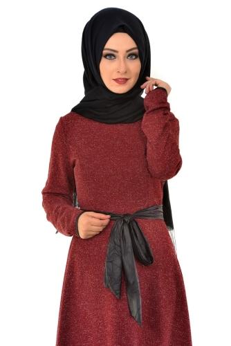 - Karyağdı Kumaş Deri Kemerli Elbise Bordo-4068 (1)