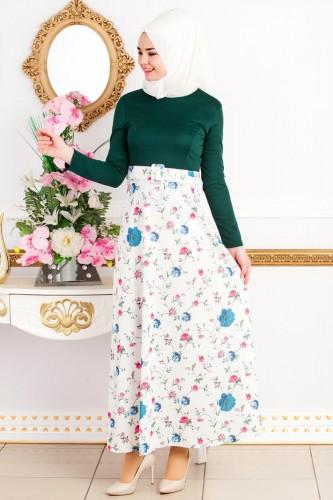 Modaebva - Kemeri Çiçekli Tesettür Elbise--4949 Zümrütyeşili