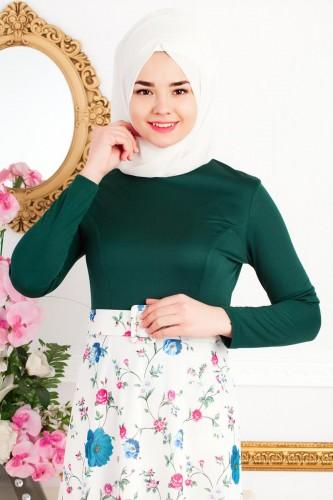 Modaebva - Kemeri Çiçekli Tesettür Elbise--4949 Zümrütyeşili (1)