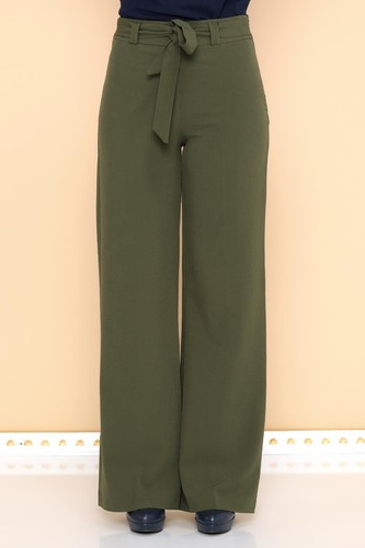 - Kemerli Bol Paça Pantolon-2092 Haki yeşil (1)