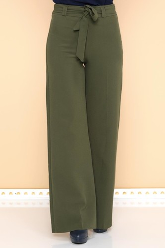 - Kemerli Bol Paça Pantolon-2092 Haki yeşil