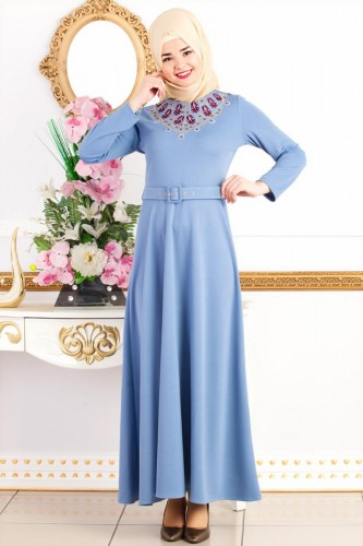 - Kemerli Nakışlı Elbise-3542Bebemavisi
