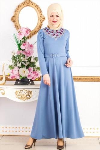 - Kemerli Nakışlı Elbise-3542Bebemavisi (1)