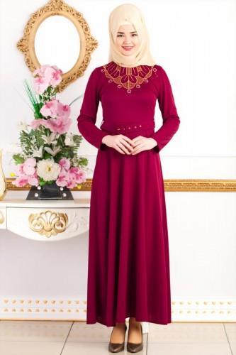 - Kemerli Nakışlı Elbise-3542Bordo