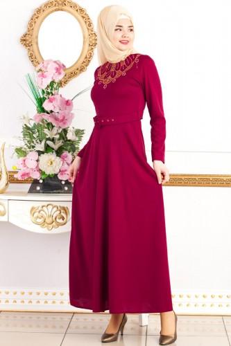 - Kemerli Nakışlı Elbise-3542Bordo (1)