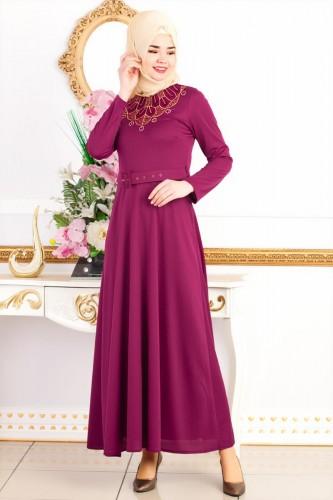 Modaebva - Kemerli Nakışlı Elbise-3542Şarabi