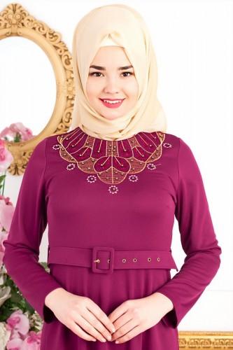 Modaebva - Kemerli Nakışlı Elbise-3542Şarabi (1)