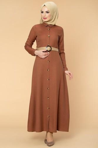 Modaebva - Kemerli Önden Düğmeli Tesettür Elbise-1013 Kahve