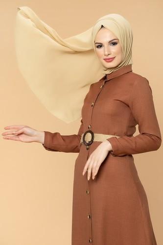 Modaebva - Kemerli Önden Düğmeli Tesettür Elbise-1013 Kahve (1)
