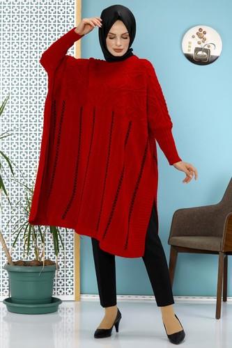 Modaebva - Kışlık Kalın Triko panço -5001 Kırmızı