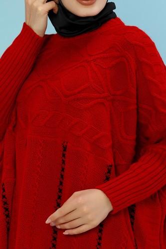 Modaebva - Kışlık Kalın Triko panço -5001 Kırmızı (1)