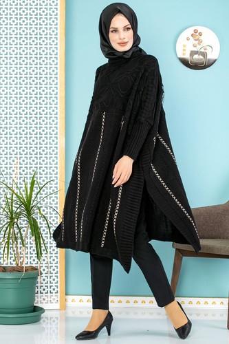 Modaebva - Kışlık Kalın Triko panço -5001 Siyah
