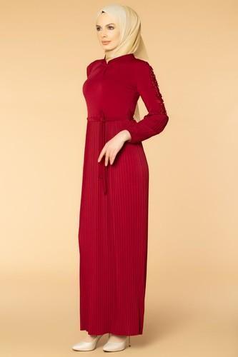 Modaebva - Kol İnci Ve Güpür Detay Sandy Elbise-1734 Bordo