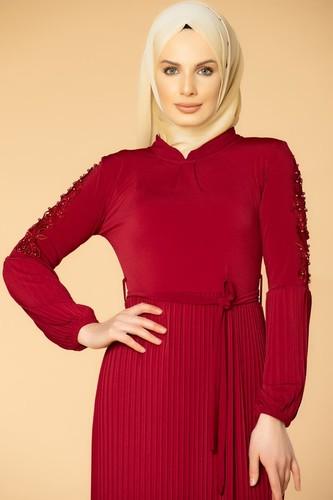 Modaebva - Kol İnci Ve Güpür Detay Sandy Elbise-1734 Bordo (1)