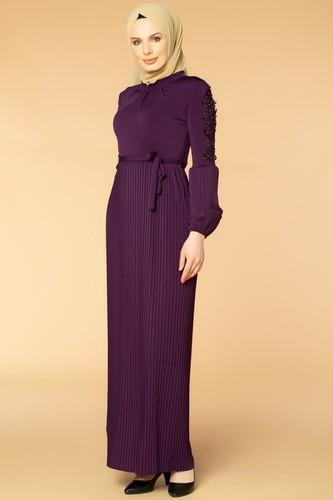 Modaebva - Kol İnci Ve Güpür Detay Sandy Elbise-1734 mor