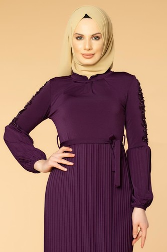 Modaebva - Kol İnci Ve Güpür Detay Sandy Elbise-1734 mor (1)