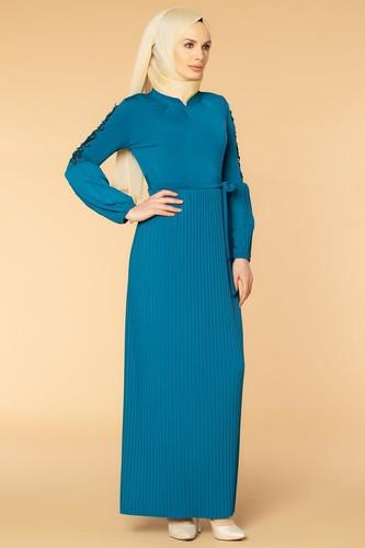 Modaebva - Kol İnci Ve Güpür Detay Sandy Elbise-1734 Petrol