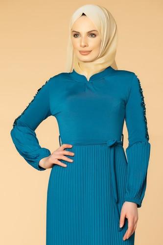 Modaebva - Kol İnci Ve Güpür Detay Sandy Elbise-1734 Petrol (1)