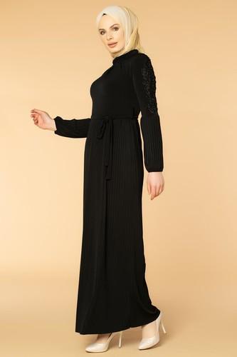 Modaebva - Kol İnci Ve Güpür Detay Sandy Elbise-1734 Siyah
