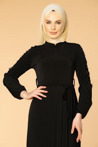 Modaebva - Kol İnci Ve Güpür Detay Sandy Elbise-1734 Siyah (1)