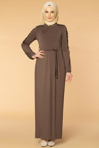 Modaebva - Kol İnci Ve Güpür Detay Sandy Elbise-1734 Vizon