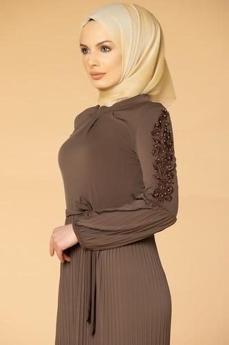 Modaebva - Kol İnci Ve Güpür Detay Sandy Elbise-1734 Vizon (1)
