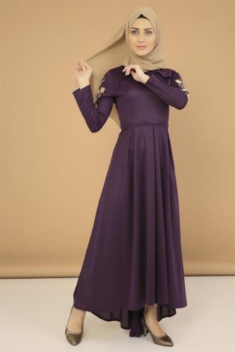 Modaebva - Kol Nakış İşlemeli Elbise-3495Mor