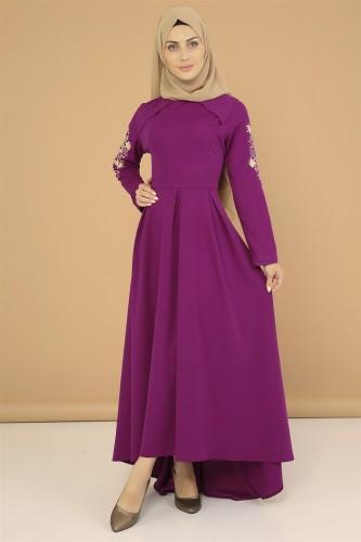 - Kol Nakış İşlemeli Elbise-3495Mürdüm