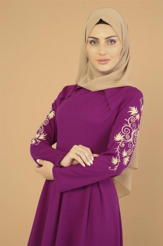 - Kol Nakış İşlemeli Elbise-3495Mürdüm (1)