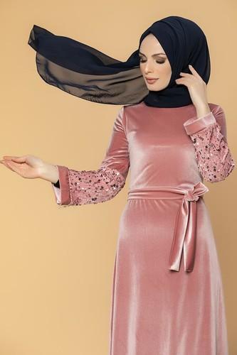 Modaebva - Kol Pul Payetli Kemerli Kadife Elbise-2004 Gülkurusu (1)