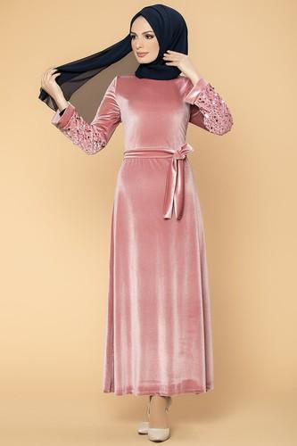 Modaebva - Kol Pul Payetli Kemerli Kadife Elbise-2004 Gülkurusu