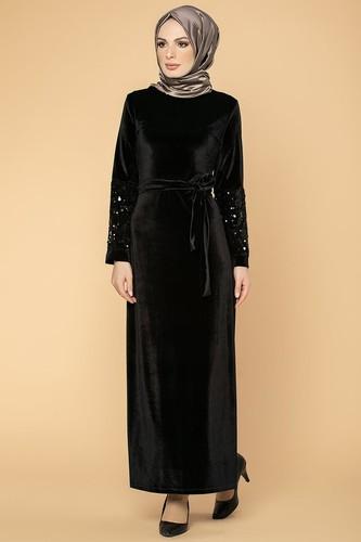Modaebva - Kol Pul Payetli Kemerli Kadife Elbise-2004 Siyah