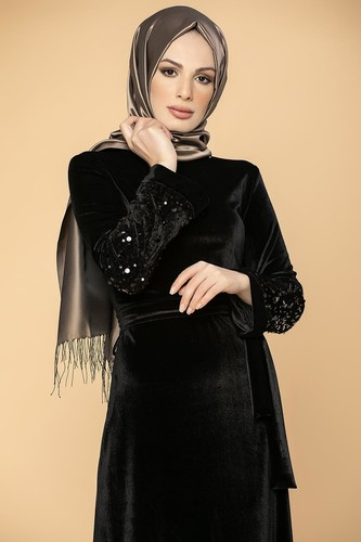 Modaebva - Kol Pul Payetli Kemerli Kadife Elbise-2004 Siyah (1)