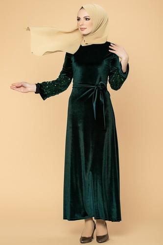 Modaebva - Kol Pul Payetli Kemerli Kadife Elbise-2004 Zümrütyeşili