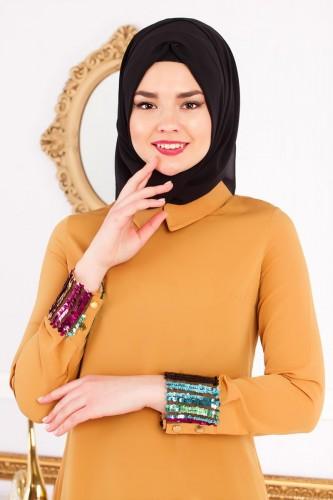 - Kol ve Etek Ucu Pulpayet Tunik-2043 Hardal sarısı (1)