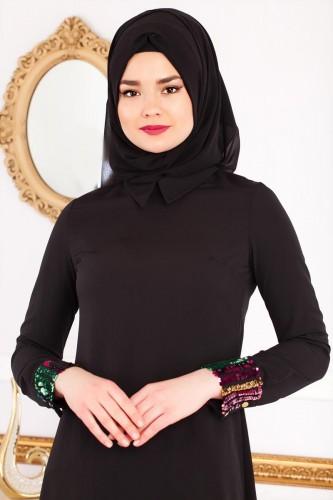 - Kol ve Etek Ucu Pulpayet Tunik-2043 Siyah (1)