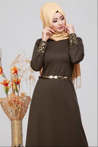 - Kol Ve Etek Ucu Varak İşlemeli Tesettür Elbise-4001 HakiYeşil (1)