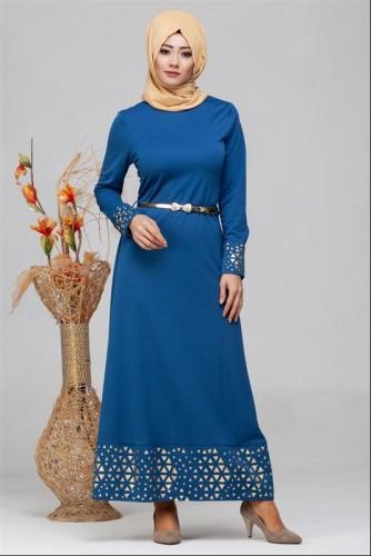 - Kol Ve Etek Ucu Varak İşlemeli Tesettür Elbise-4001 Mavi